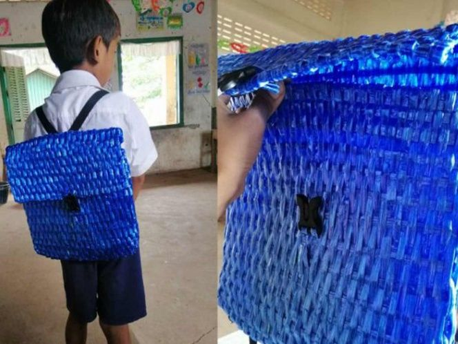 Papá teje con rafia mochila a su hijo por no tener dinero