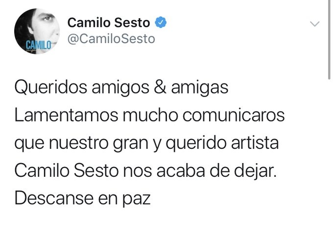 Fallece Camilo Sesto