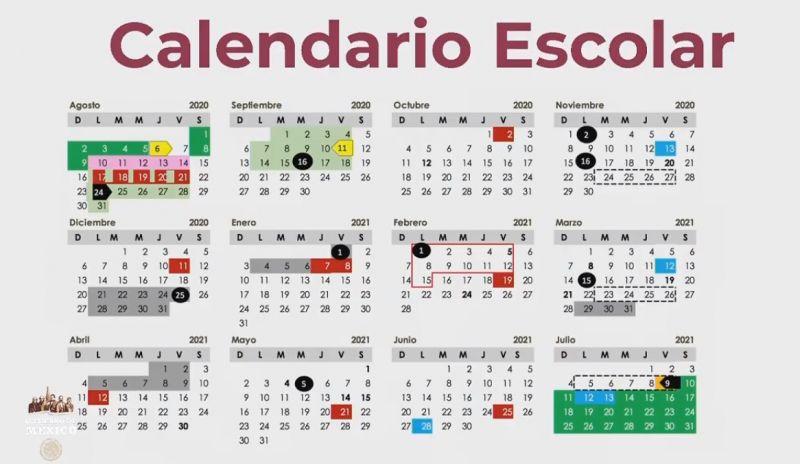 Calendario definitivo vigente para el ciclo escolar 2020-2021