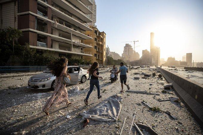 Esta foto es tomada en los edificios que estan a 1.2 kilometros de la zona de la Explosión en Beirut