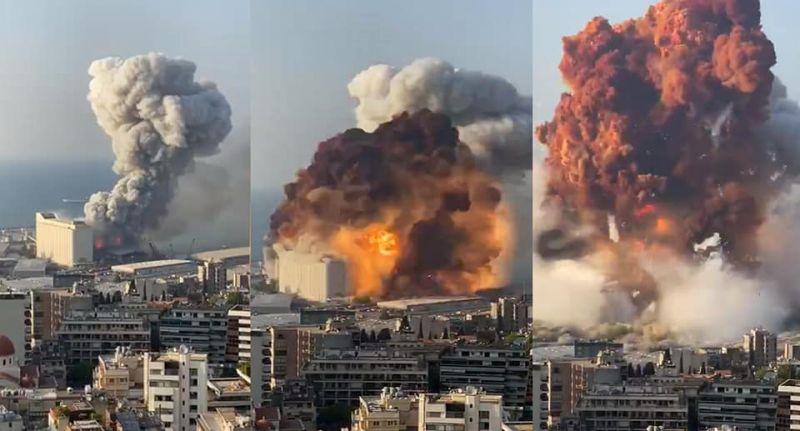 Secuencia de la explosion en Beirut