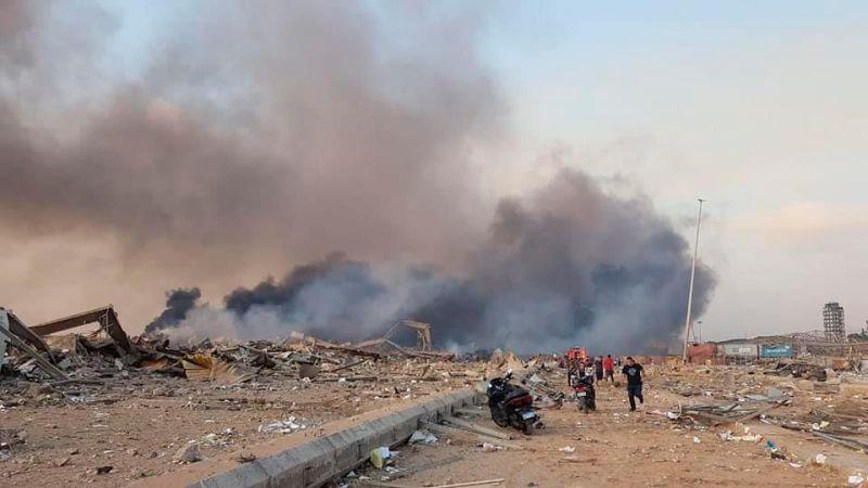 Zona portuaria de Beirut tras la gran explosion de esta tarde